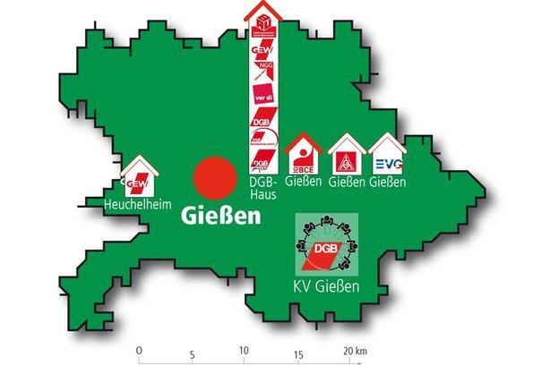 Landkreiskarte mit Gewerkschaftseinrichtungen