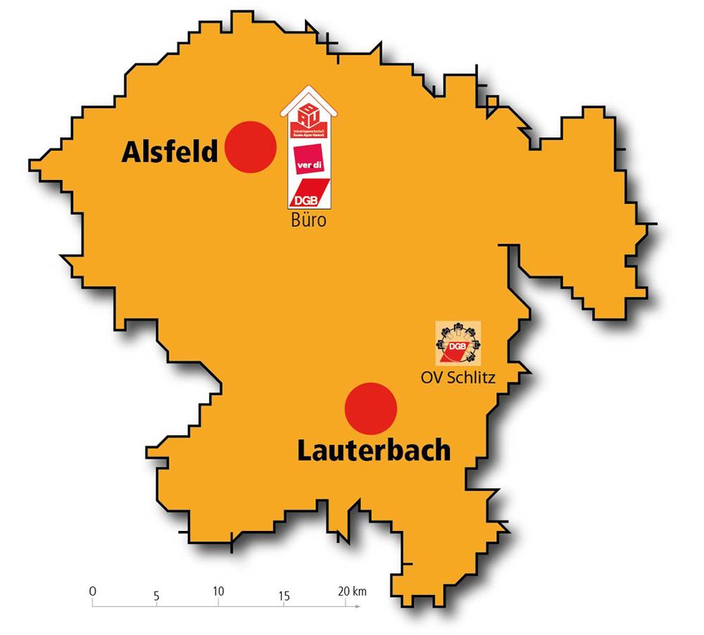 Landkarte DGB-Kreis Vogelsberg