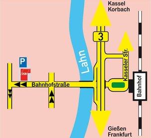 Anfahrtsplan zum DGB-Büro Marburg