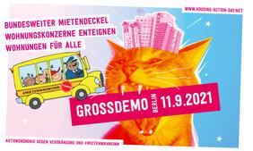 Flyer Mietendemo am 11.09.2021 in Berlin.